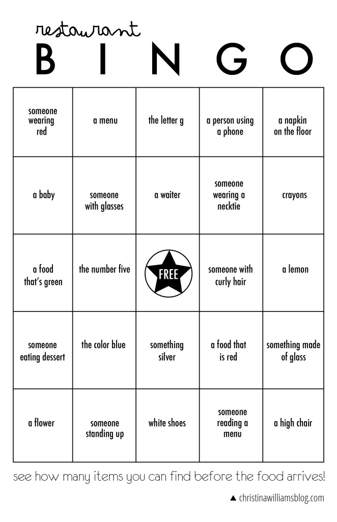 restaurant bingo printable