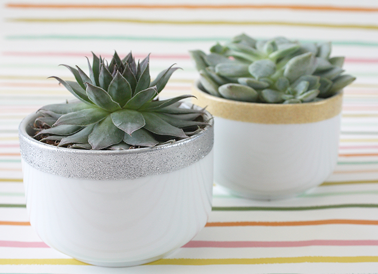 DIY Glitter-Dipped Planters