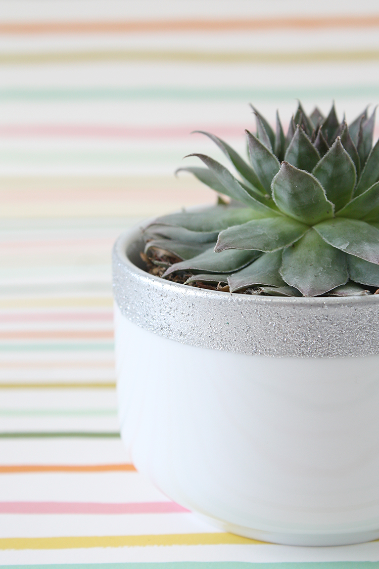 DIY Glitter-Dipped Planter