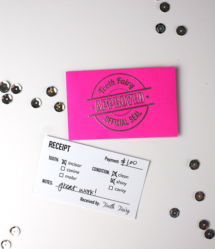 Printable Tooth Fairy Receipt