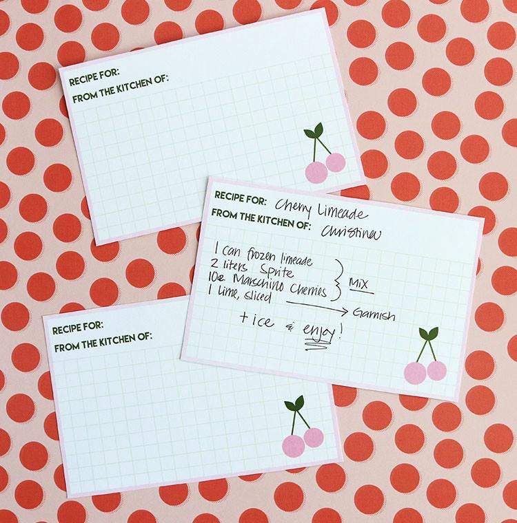 Cherry Recipe Cards